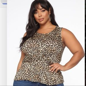 Brown animal print sleeveless blouse
